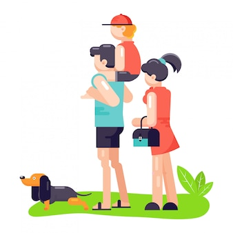 家族の父、母と息子は、親友のペットのキャラクターの犬または子犬と遊ぶ。