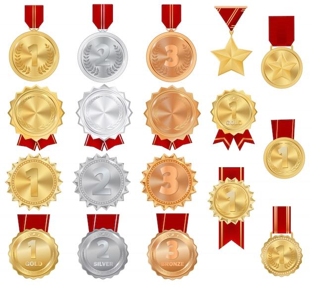 スポーツの競争の達成の勝者アイコンのメダル金、銀、銅賞