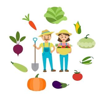 農場の野菜と農家の家族。