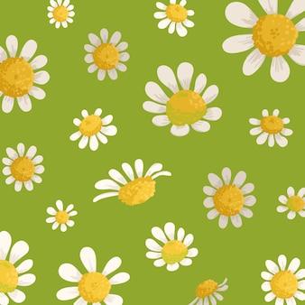 美しい花飾りと緑のパターンにカモミールの野の花。カモミールの花の織物、