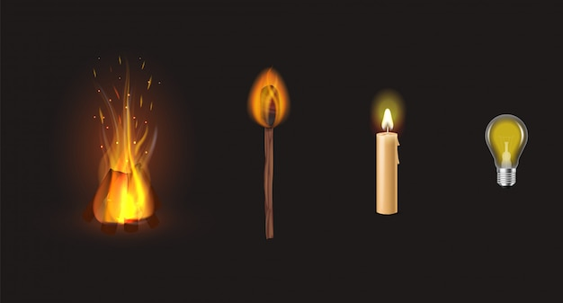 Инфографика от костра и свечи до светодиодных ламп инновационных технологий. различные виды освещения на черном фоне.