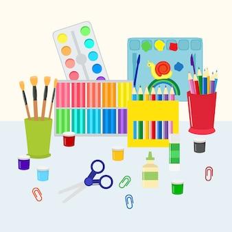 Красочный набор канцелярских товаров. раскраски карандашами, ручками, ножницами и красками с кисточками. детские и школьные принадлежности, искусство