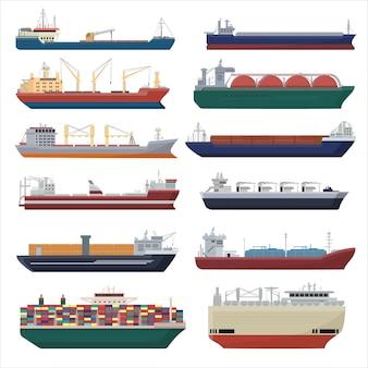 Грузовой корабль вектор доставка транспорт экспорт контейнер иллюстрации набор