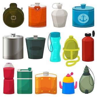 フラスコベクトル金属ボトルヒップドリンク熱とフィットネススポーツプラスチックボトルイラスト