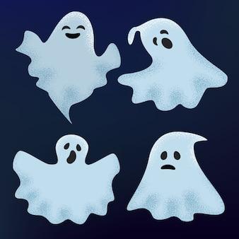 Призрак вектор хэллоуин страшный персонаж жуткий мультяшный монстр иллюстрация