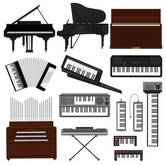 Клавишный музыкальный инструмент вектор музыкант оборудование пианино оркестра синтезатор аккордеон классическая фортепиано органная иллюстрация