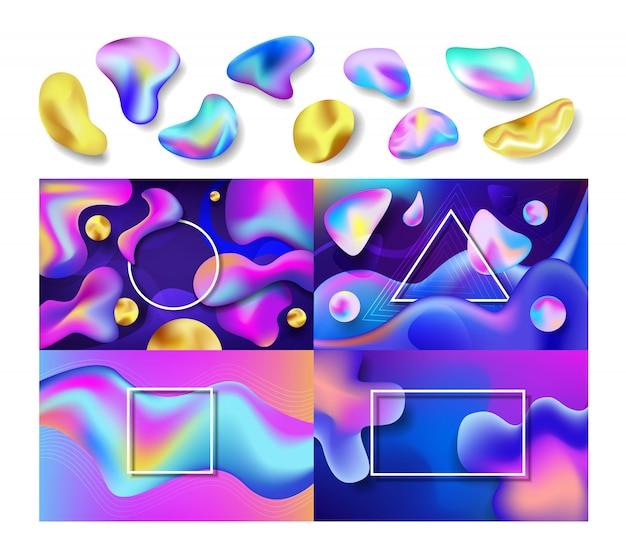 Жидкие абстрактные векторные абстрактные цвет фона дизайн красочные футуристические брызги жидкости