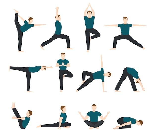 Йога человек вектор мужчины йоги персонаж обучение гибкое упражнение позы иллюстрации