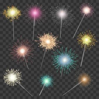 Спарклер вектор яркие игристые для празднования рождества новый год партия блесток иллюстрации набор искрятся фейерверк искры
