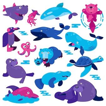 海洋動物のベクトル漫画動物キャラクタークジラペンギンカメとクマ