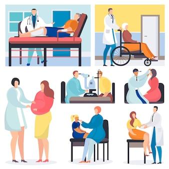 診察ベクトル医師患者医療キャラクタープロのクリニックオフィスイラストで健康を調べる