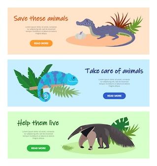 消える野生動物のイラストを保存します。ウェブサイトのページは、バナーセットをデザインします。自然、野生生物、動物を保護します。アリクイ、ワニ、カメレオン動物。