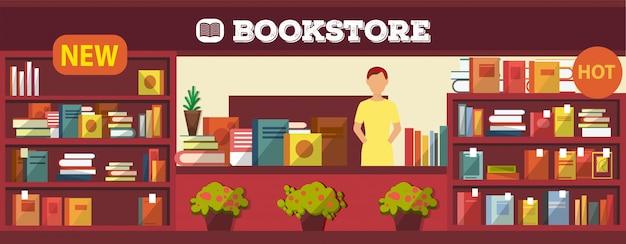 ブックショップインテリアイラスト。屋内の棚やレジの机に関するさまざまな本。中に女の子の売り手と買い手がいない書店。人気の新しいアイテム。