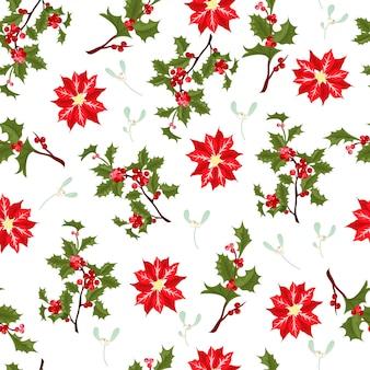 クリスマスベリー花ベクターのシームレスパターン。