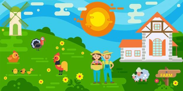 Пары фермеров с иллюстрацией сбора. женщина, держащая корзина со свежими овощами. дом фермеров, мельница, овцы, петух и курица, индейка.