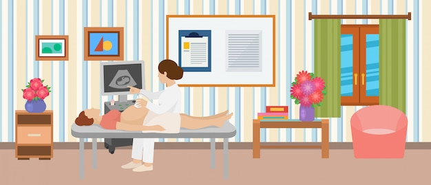 超音波検診胎児妊婦イラスト。女医婦人科医、クリニックでの超音波装置の患者。モニター上の赤ちゃんの胚。