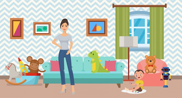 女性と幼い息子を自宅でフラットインテリアイラスト。モダンな内装の清潔で快適な居心地の良いリビングルーム、またはソファ、アームチェア、おもちゃのある子供部屋。