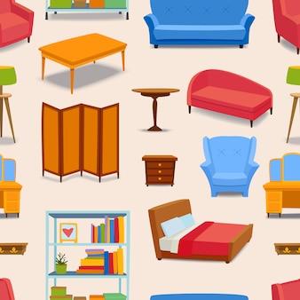 家具や家の装飾アイコンのシームレスパターン