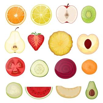 フルーツスライス新鮮なフルーティーなスライス食品ジューシーオレンジレモンシトラスカット健康的な熟した野菜とトロピカルフルーツトマトスイカリンゴキウイビタミンのイラストセット