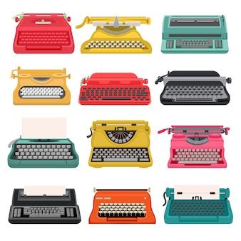 タイプライターの古いビンテージキーボードマシン、書き込みとタイピングのためのレトロなタイプライター。白で隔離されるアンティーク印刷秘書オブジェクトのイラストセット