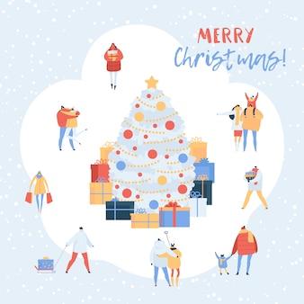 ギフトや漫画のカップル、冬を歩く家族のキャラクターとクリスマスツリーの人々。男性、新年を保持している女性のイラストセットプレゼント白で隔離