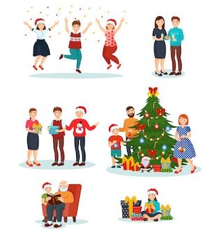 メリークリスマスを祝うサンタ帽子のクリスマスの人々、家族は一緒に新年のツリーを飾ります。笑顔の男、女、白で隔離の贈り物と子供たちのキャラクターのイラストセット
