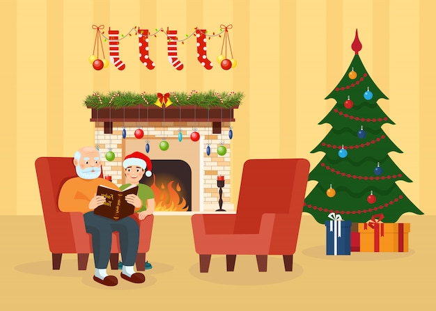 Дедушка, внук в комнате украшены на рождество