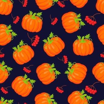 オレンジ色のカボチャはシームレスパターンをベクトルします。