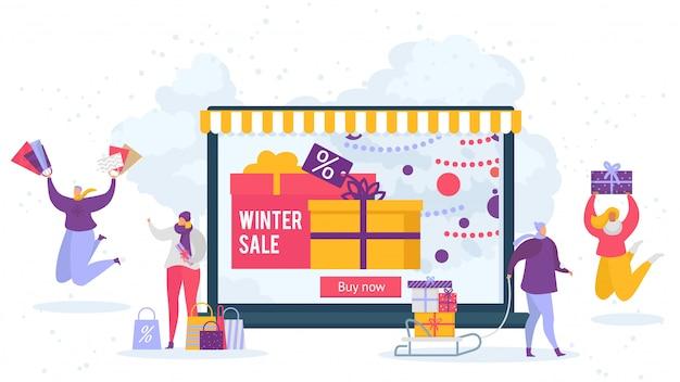 Зимняя распродажа и люди, делающие покупки онлайн со скидками