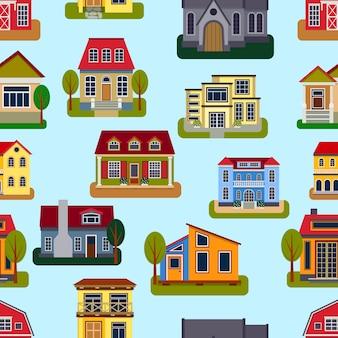 家のシームレスなパターンベクトルイラスト。旅行村フラットアパート。不動産ファサード建設飾り。