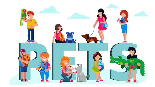 Домашние животные домашних животных с владельцами людей, и надписи домашних животных изолированных иллюстрация.