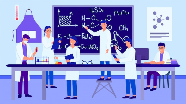 Ученые изучая и работая в классе обучения химической лаборатории, иллюстрации.