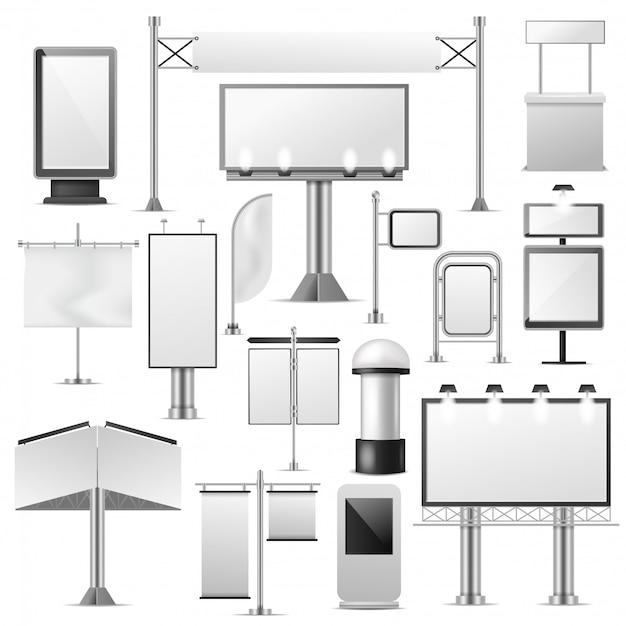 空白の広告ベクトル広告看板セット