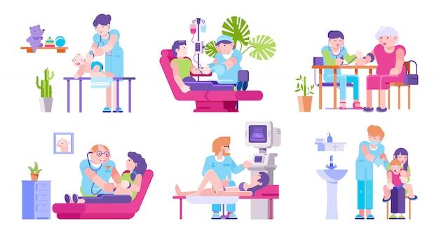 Врачи и посещение пациентов в медицинской клинике изолированных иллюстрация набор.