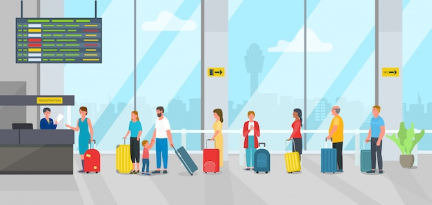Проверка авиапорта в иллюстрации стола регистрации и пассажиров очереди людей.