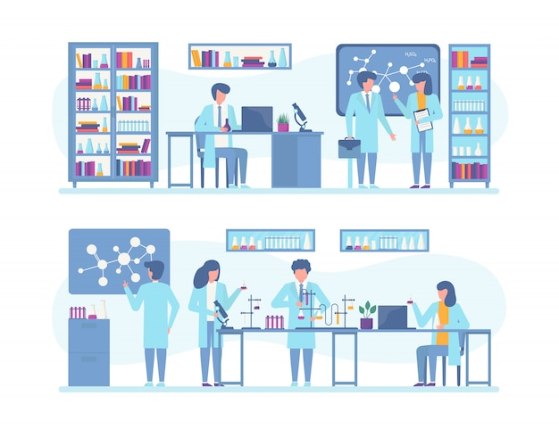 科学者の人々は、研究、科学実験室での実験、イラストセットに取り組んでいます。