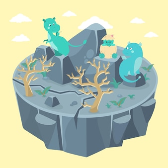 Счастливая семья драконов. мама, папа и только что вылупившийся ребенок.
