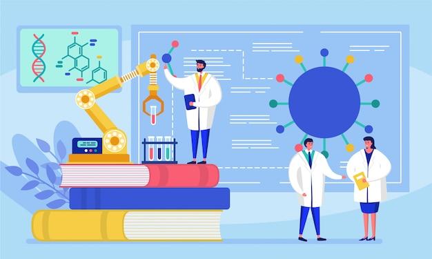 Лаборатория коронавирусной вакцины противовирусной биологии исследования антивирус врачей иллюстрации. ученые в лаборатории, химики-исследователи с лабораторным оборудованием