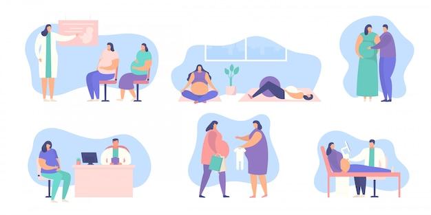 Комплект иллюстрации беременной женщины изолированный на белом собрании.