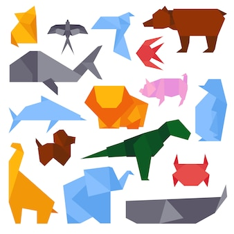 さまざまな動物の折り紙スタイルのイラストはベクトルします。アジアの芸術概念グラフィックアイコン手作り文化。日本の伝統的な伝統的なおもちゃの幾何学的なクレーン。