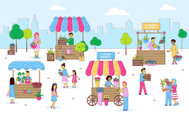 通り、漫画の線図に花屋で植物や花を売ったり買い物したりする人々と花のストリートマーケット。