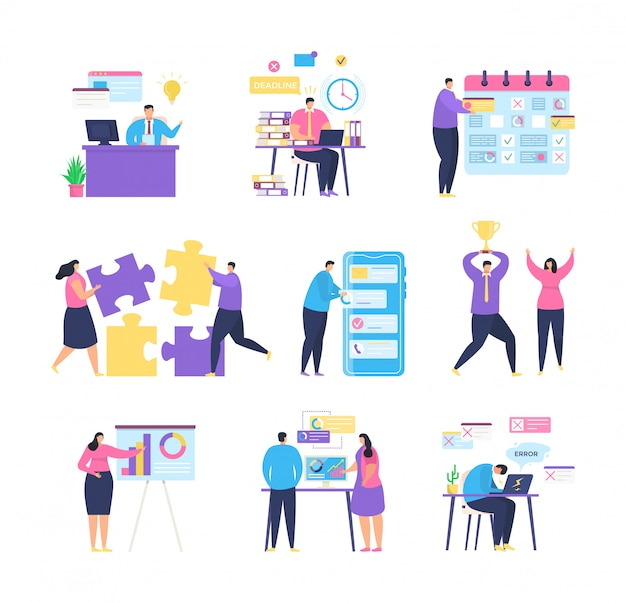 Управление бизнес-задачами с иллюстрацией команды людей.
