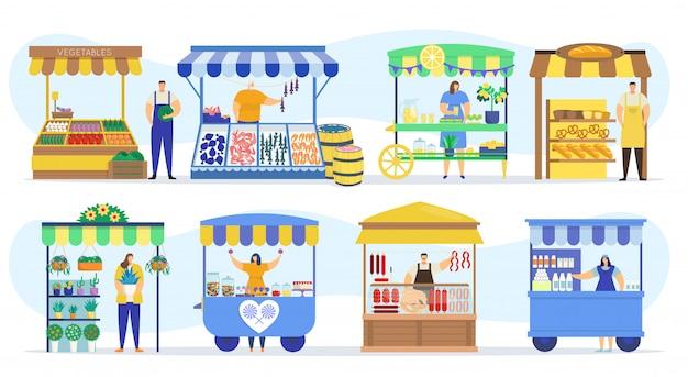 Уличные магазины, киоски на прилавках, торговые палатки и прилавки на фермерском рынке