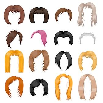 かつら髪型ベクトルイラスト。