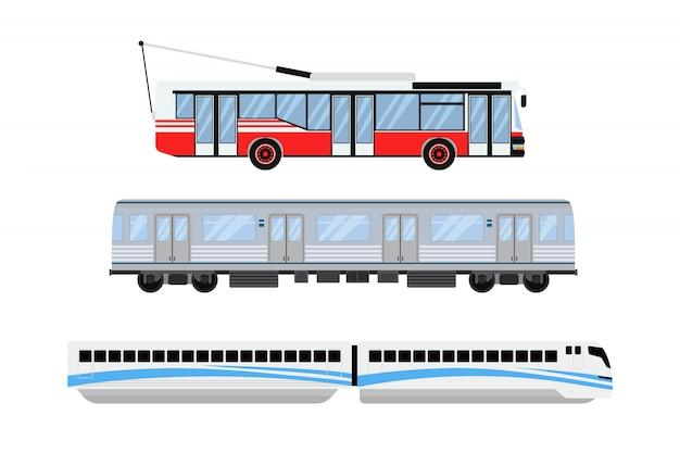 Городской трамвай и троллейбус транспорта векторные иллюстрации.