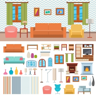 Дизайн интерьера комнаты мебели и значок концепции домашнего декора установили плоскую иллюстрацию.