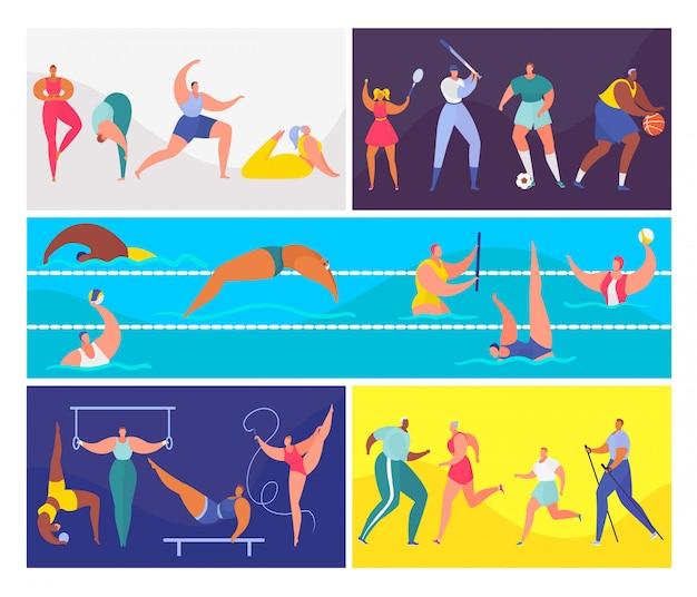 Мультяшный спорт люди иллюстрации набор, мужчина женщина персонаж в здоровой спортивной деятельности, тренировки, плавание или упражнения йоги