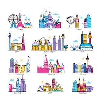 世界の有名な首都のイラスト、ヨーロッパ、アジア、アメリカの国の都市の街並み