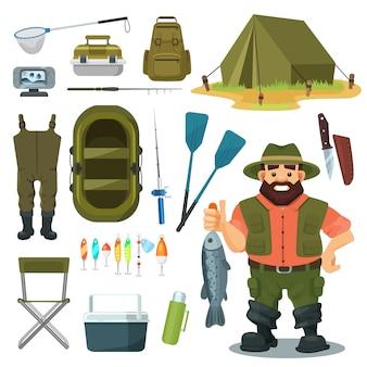 漁師イラストセット、キャッチ魚、屋外キャンプ用品、白で隔離されるキャンプアイコンを持つキャラクターの釣り道具