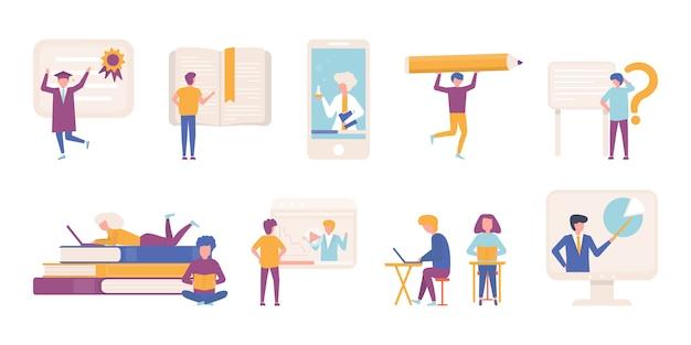 Учить людей, градация образования изучая иллюстрацию женщин женщин установленную. изолированный набор сбора. разные ученики с учебниками, ноутбуками, смотрят интернет, обучают видео урокам, читают